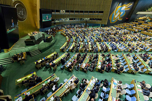 Wide view of the Hall General Assembly Seventy-second session, 93rd plenary meeting Election of five non-permanent members of the Security Council